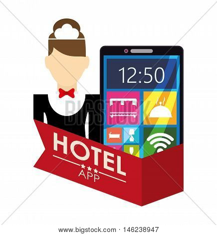 Smartphone maid and hotel apps icon set. Service technology media and digital theme. Colorful design. Vector illustration