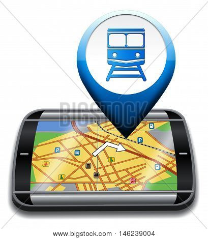 Railway Station Gps Represents Rail Direction And Journey