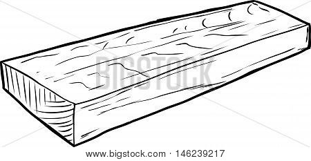 Outline Illustration Of Single Cut Wood Piece