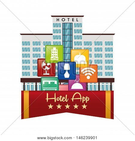 building hotel and apps icon set. Service technology media and digital theme. Colorful design. Vector illustration