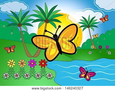 Butterflies On Lake Indicates Scenic Tranquil Green Countryside