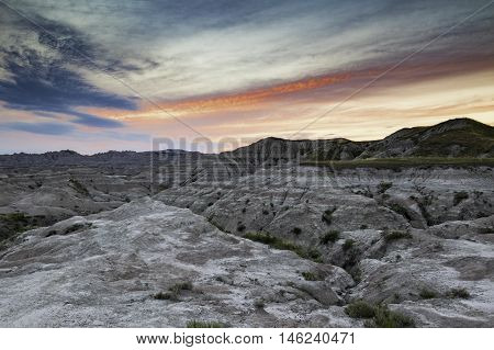 Badlands National Park at dusk in South Dakota