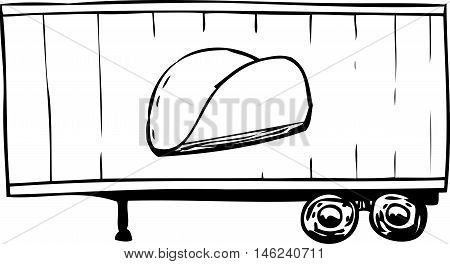 Outlined Truck Trailer With Taco Symbol