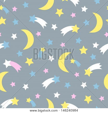 Starry sky seamless pattern. Child drawing style background with stars, comet, moon, meteorite.