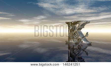 machine letter k under cloudy sky - 3d illustration