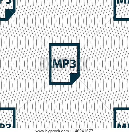 Mp3 Icon Sign. Seamless Pattern With Geometric Texture. Vector