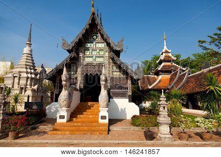 Naga starway at Wat Chedi Luang Chiang Mai Thailand
