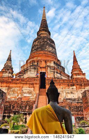 Close up of Wat Yai Chaimongkhon Ayuthaya Thailand