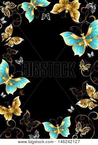 Frame with gold jewels and butterflies on a black background. Design with butterflies. Golden Butterfly.