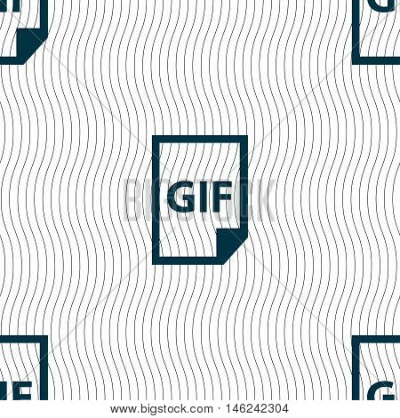 File Gif Icon Sign. Seamless Pattern With Geometric Texture. Vector
