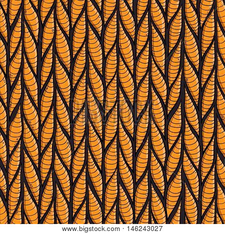 Stylized stripes worms or leeches seamless vector pattern for Halloween decoration textile and background. orange colors. Ugly monsters pattern.