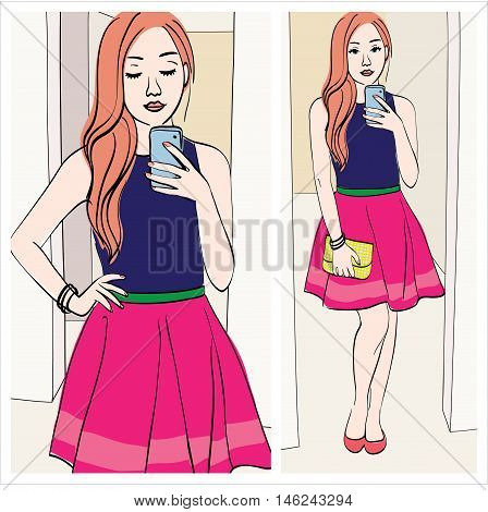 ginger blogger: Illustration of a girl taking a mirror selfie with cute outfit