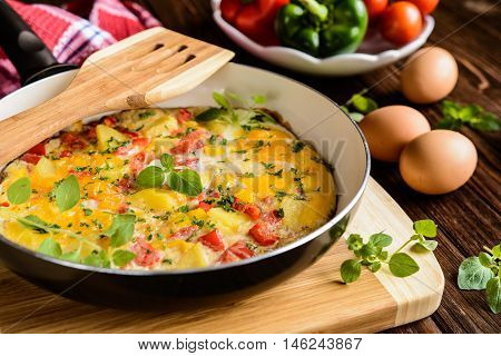 Frittata With Potato, Cheese And Pepper