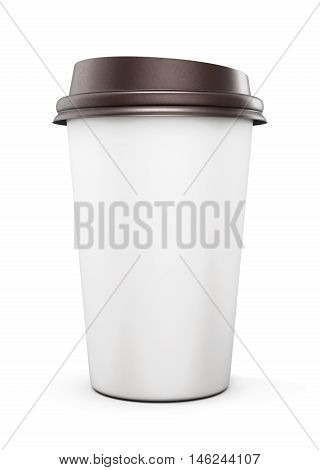 Disposable Plastic Cup With Lid For Coffee Isolated On White Background. Mock Up For Your Design. Fr