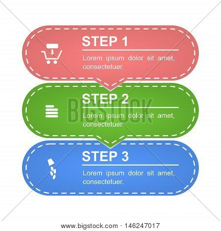 Unusual modern colorful infographics of online shopping. Three steps, interesting design. Isolated vector illustration on white background.