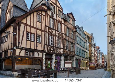 Street in historical center of Rouen with half-timbered houses France