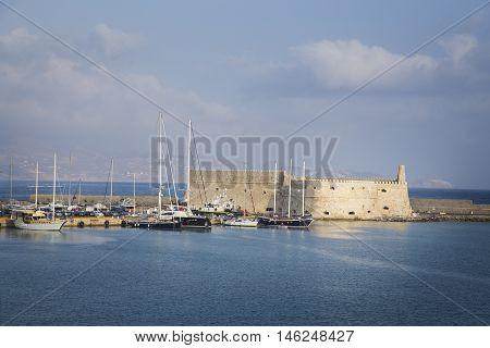 Heraklion harbout and venetian castle Crete Greece