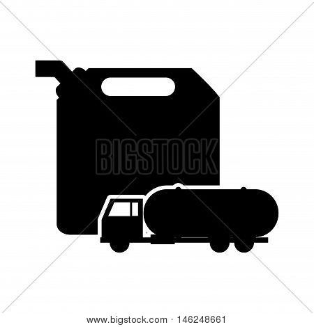 flat design fuel canister and cistern truck icon vector illustration