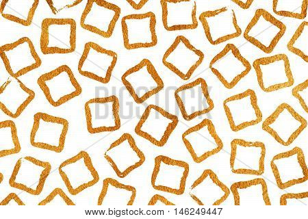 Grunge Square Golden Strokes Pattern.