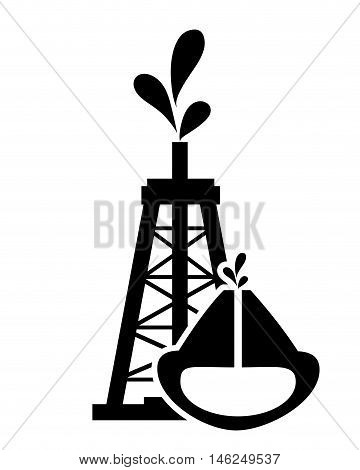 flat design oil rig and oil reservoir icon vector illustration