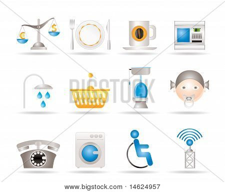 Roadside, hotel and motel services icons