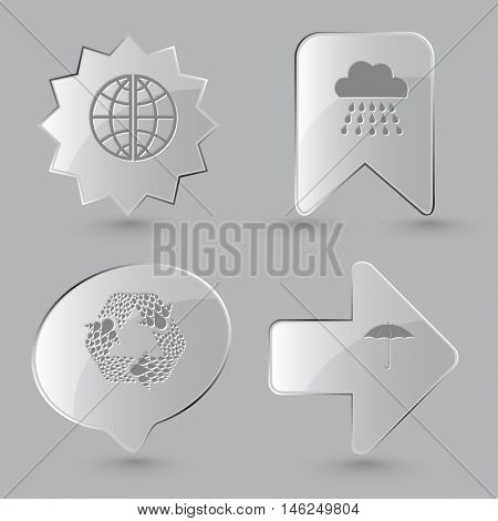 4 images: globe, rain, recycle symbol, umbrella. Weather set. Glass buttons on gray background. Vector icons.