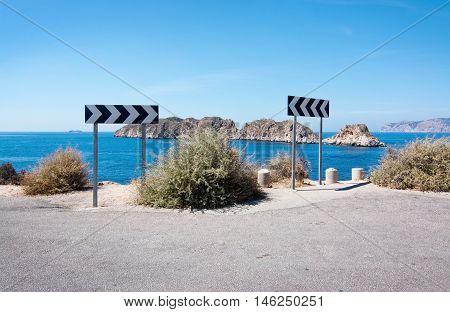 Warning Traffic Sign Near Steep Cliff