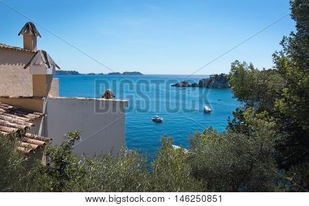 CALA FORNELLS MALLORCA SPAIN - SEPTEMBER 6 2016: Charming architecture and natural landscape on a sunny day on September 6 2016 in Cala Fornells Mallorca Spain.