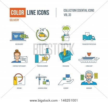 Color Line icons collection. Eco delivery, express and fast delivery, transport protection, contract with agent, tracking number, cargo ship, refund, courier, manager