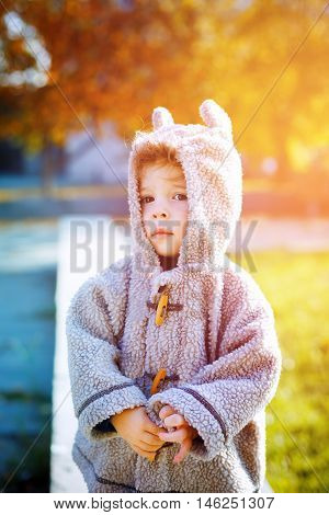 Cute Little Kid Boy In Funny Clothes