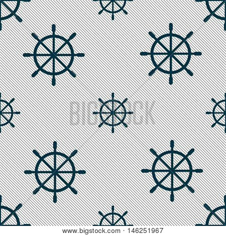 Ship Steering Wheel Icon Sign. Seamless Pattern With Geometric Texture. Vector