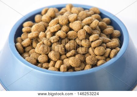 Dry Dog Or Cat Treats In Bowl Isolated On White