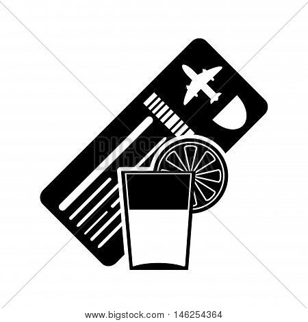 flat design boarding pass or ticket and tropical cocktail icon vector illustration