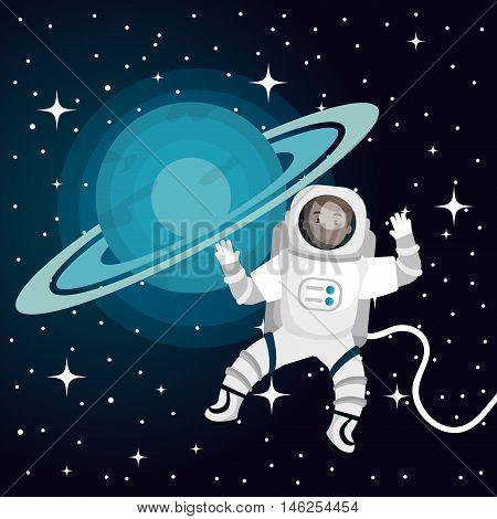 astronaut cartoon space isolated vector illustration eps 10