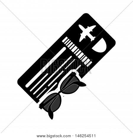 flat design boarding pass or ticket and sunglasses  icon vector illustration