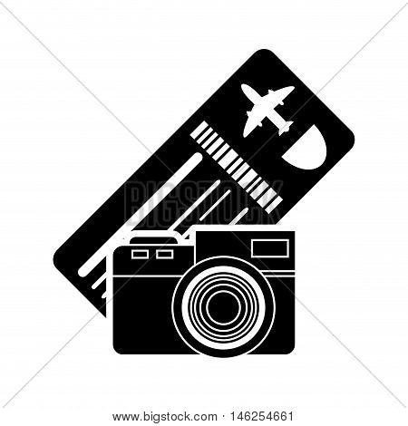 flat design boarding pass or ticket and camera  icon vector illustration