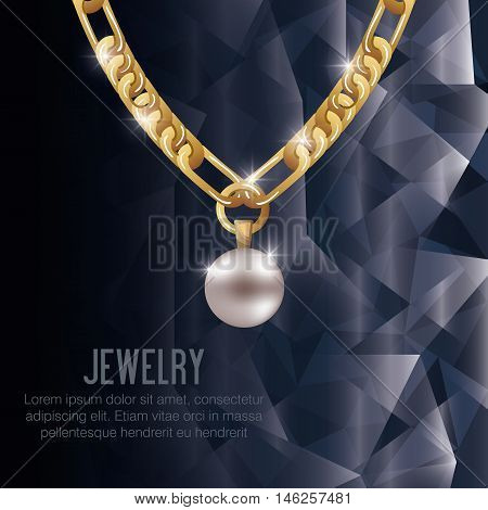 icon necklace gold gem isolated vector illustration eps 10