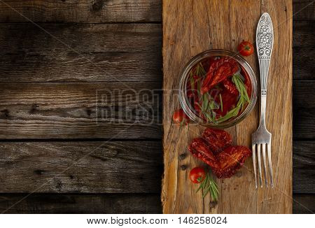 Delicious Dried Tomatoes in a Jar Rustic Style with a space in the for text.