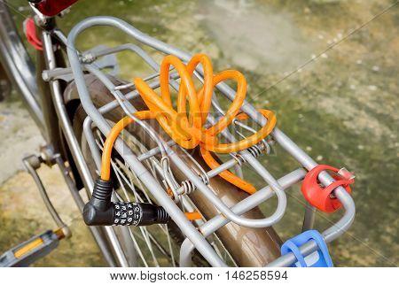 Orange number Lock on a Bike/ Bicycle Chain Lock