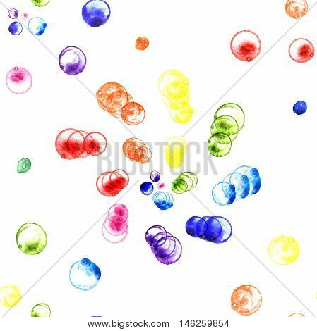 Watercolor illustration of rainbow soap bubbles spirals. Seamless patern. Hand made painting.