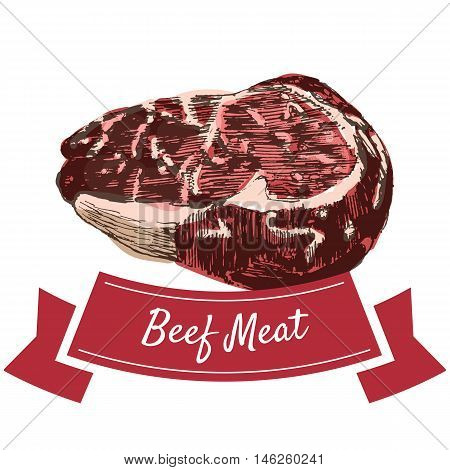 Beef meat colorful illustration. Vector illustration of beef meat.