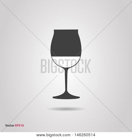 Glass of red burgundy wine silhouette icon