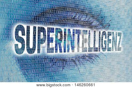 superintelligenz (in german super intelligence eye) with matrix looks at viewer concept.