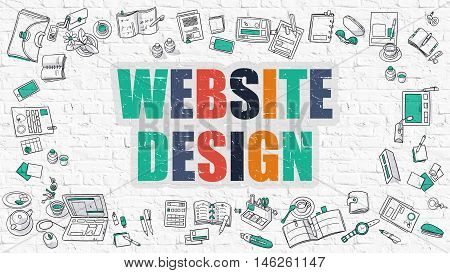 Website Design Concept. Multicolor Inscription on White Brick Wall with Doodle Icons Around. Modern Style Illustration with Doodle Design Icons. Website Design on White Brickwall Background.