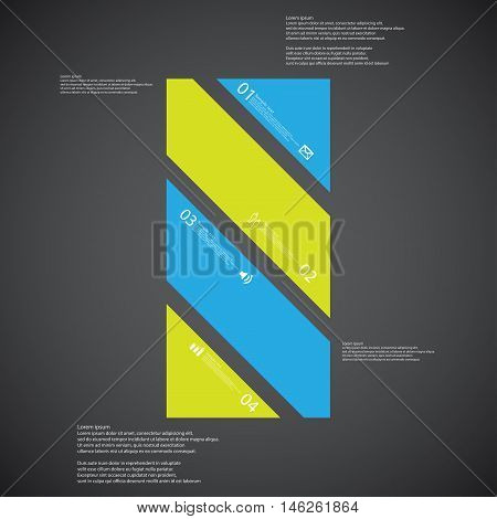 Bar Illustration Template Consists Of Four Color Parts On Dark Background