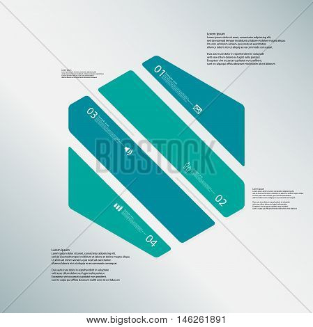 Hexagon Illustration Template Consists Of Four Color Parts On Blue Background