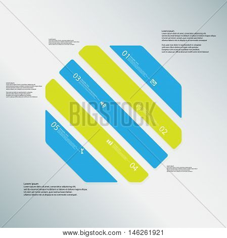 Octagon Illustration Template Consists Of Five Color Parts On Blue Background