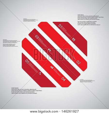Octagon Illustration Template Consists Of Five Red Parts On Light Background