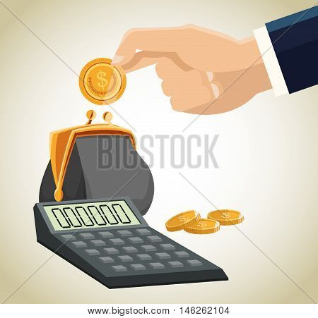 Purse calcaulator and coins icon. Money economy commerce and market theme. Isolated design. Vector illustration