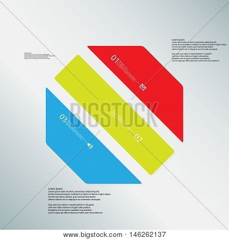 Octagon Illustration Template Consists Of Three Color Parts On Blue Background